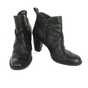 Born Black Leather Heeled Boots Size 8.5